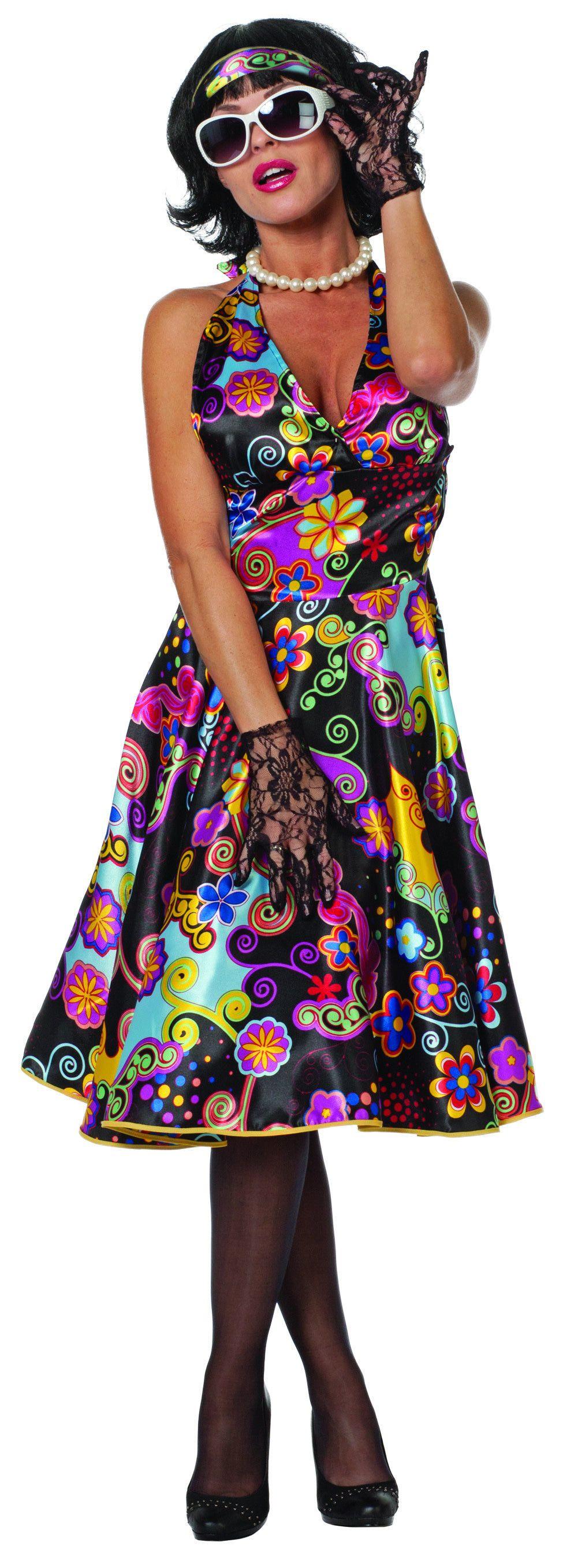 Satin Pin-Up 50s Style Vrouw Kostuum
