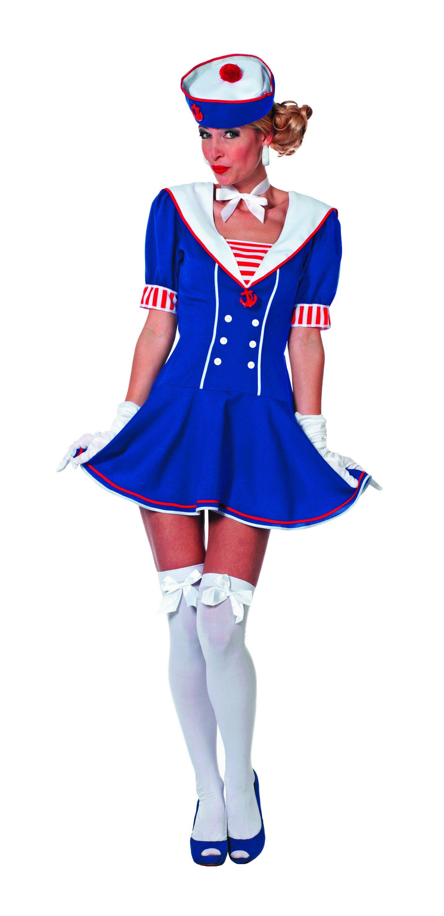 Blauw Wit Matroosje Vrouw Kostuum