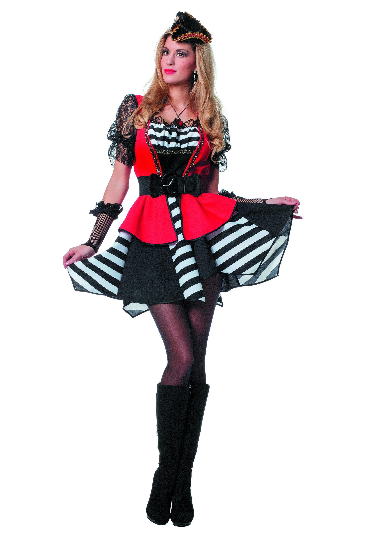 Woeste Zee Pirate Streep Zwart / Wit Vrouw Kostuum