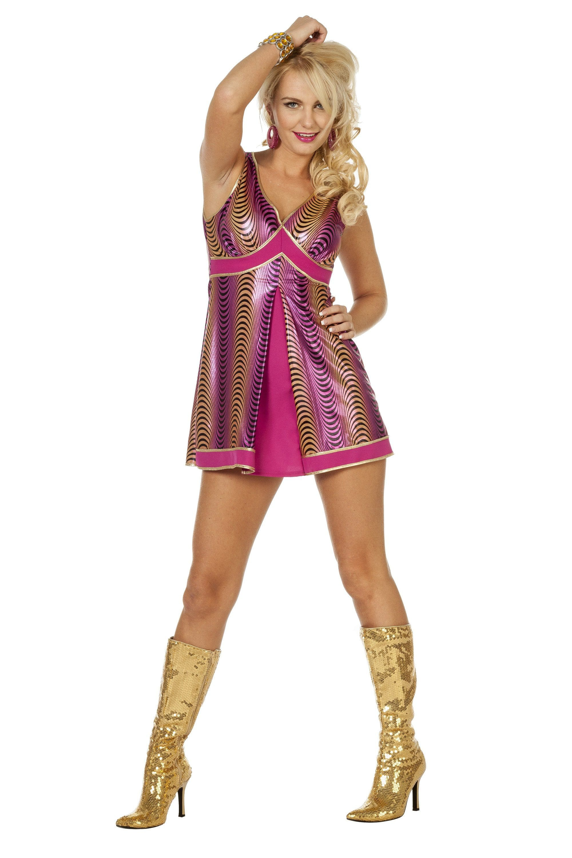 Disco Godess Purple Bling Vrouw Kostuum