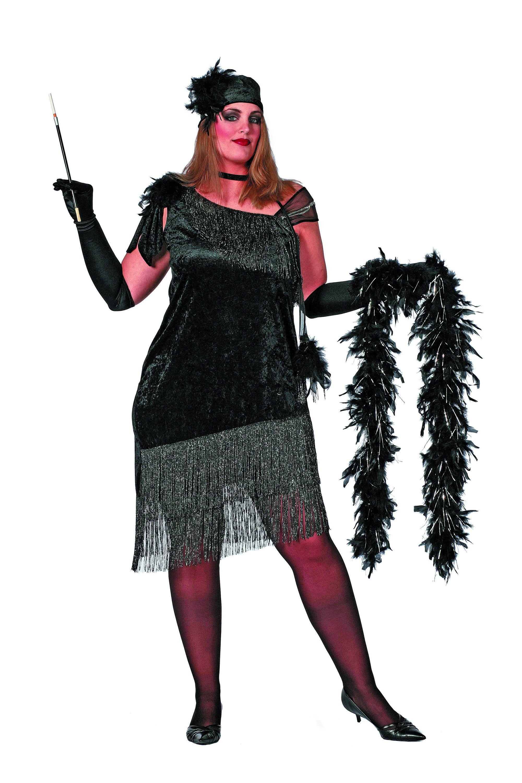 Ms 20-Black Charleston, Zwart ( Grote Maten) Vrouw Kostuum