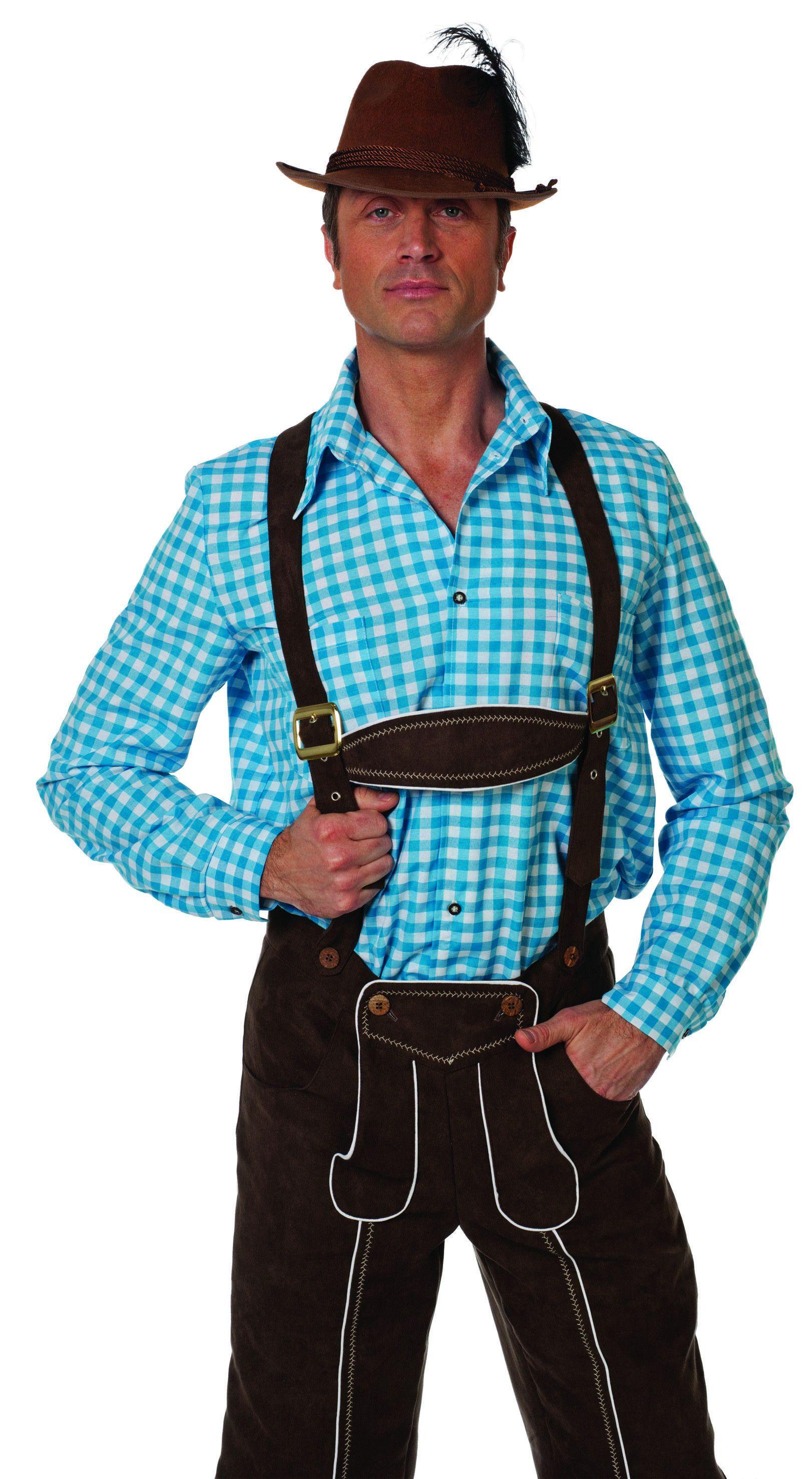 Auf Wiedersehen Overhemd Tiroler Blauw