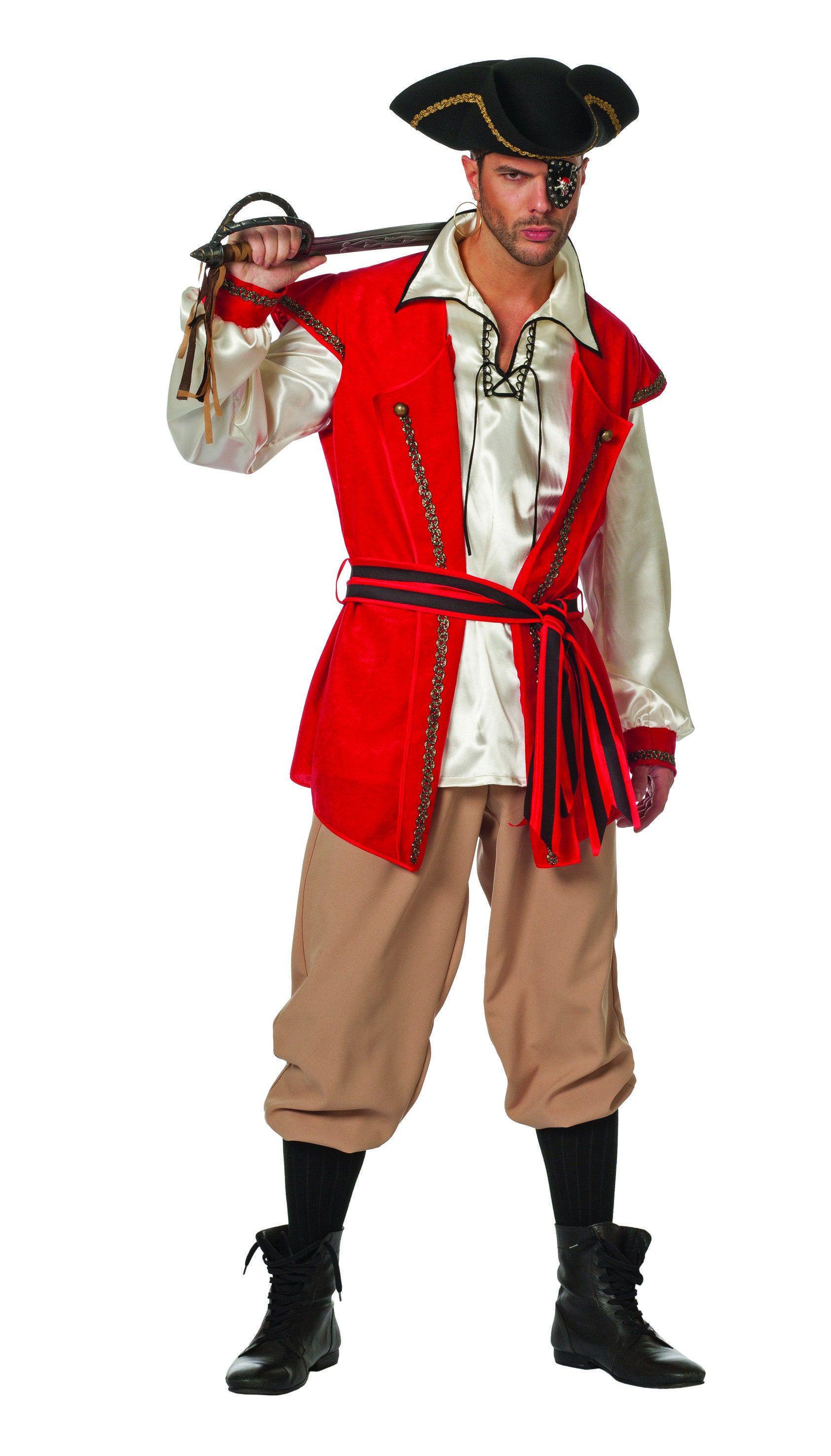 Modische Piraat Red Beard Man Kostuum