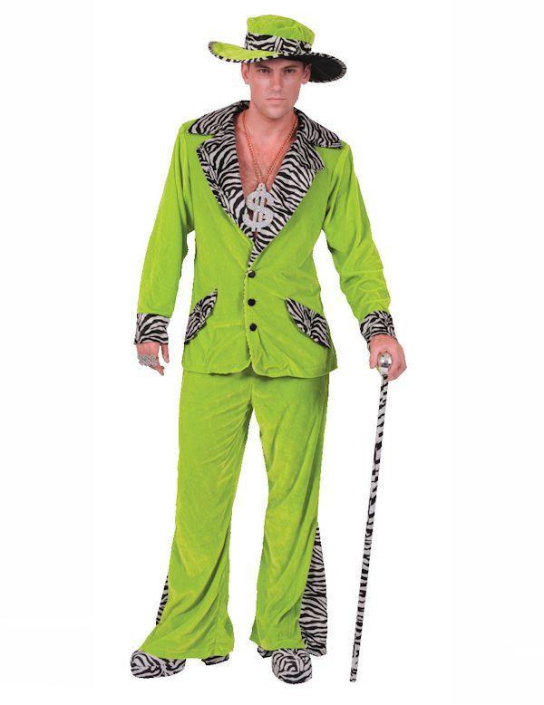 Groen Pooier Pimp Kostuum & Hoed Man