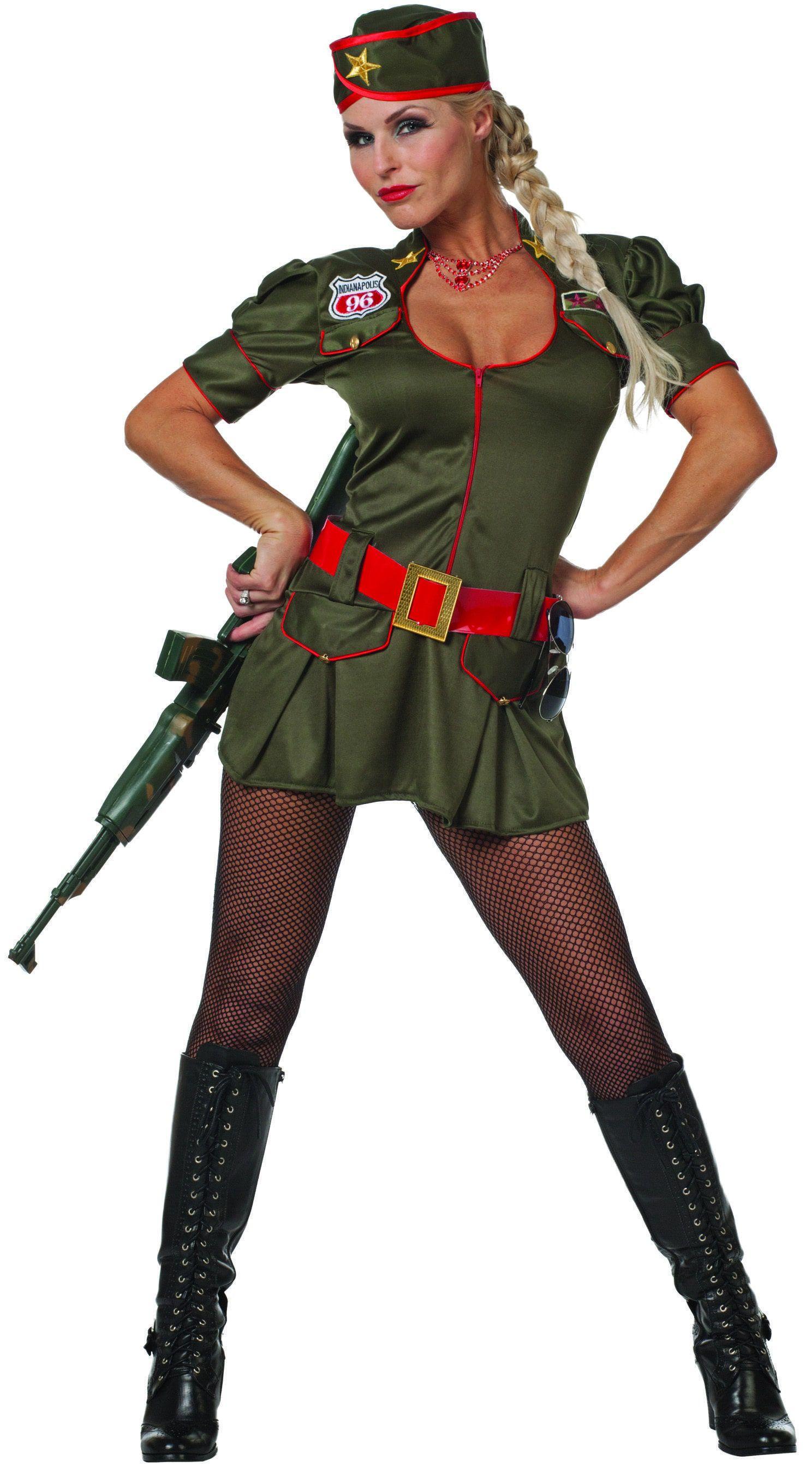 Overrompelende Soldate Rood Vrouw Kostuum