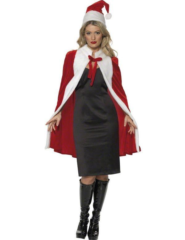 Luxe Santa Cape En Hoed Vrouw Kostuum