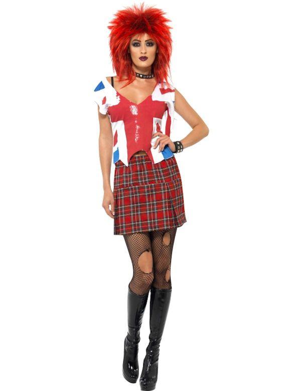 80s Punk Meisje Vrouw Kostuum