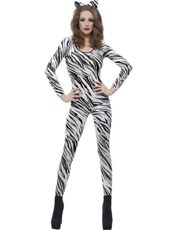 Zebra Catsuit Vrouw Kostuum