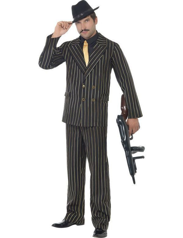 Goud Krijtstreep Gangster Man Kostuum