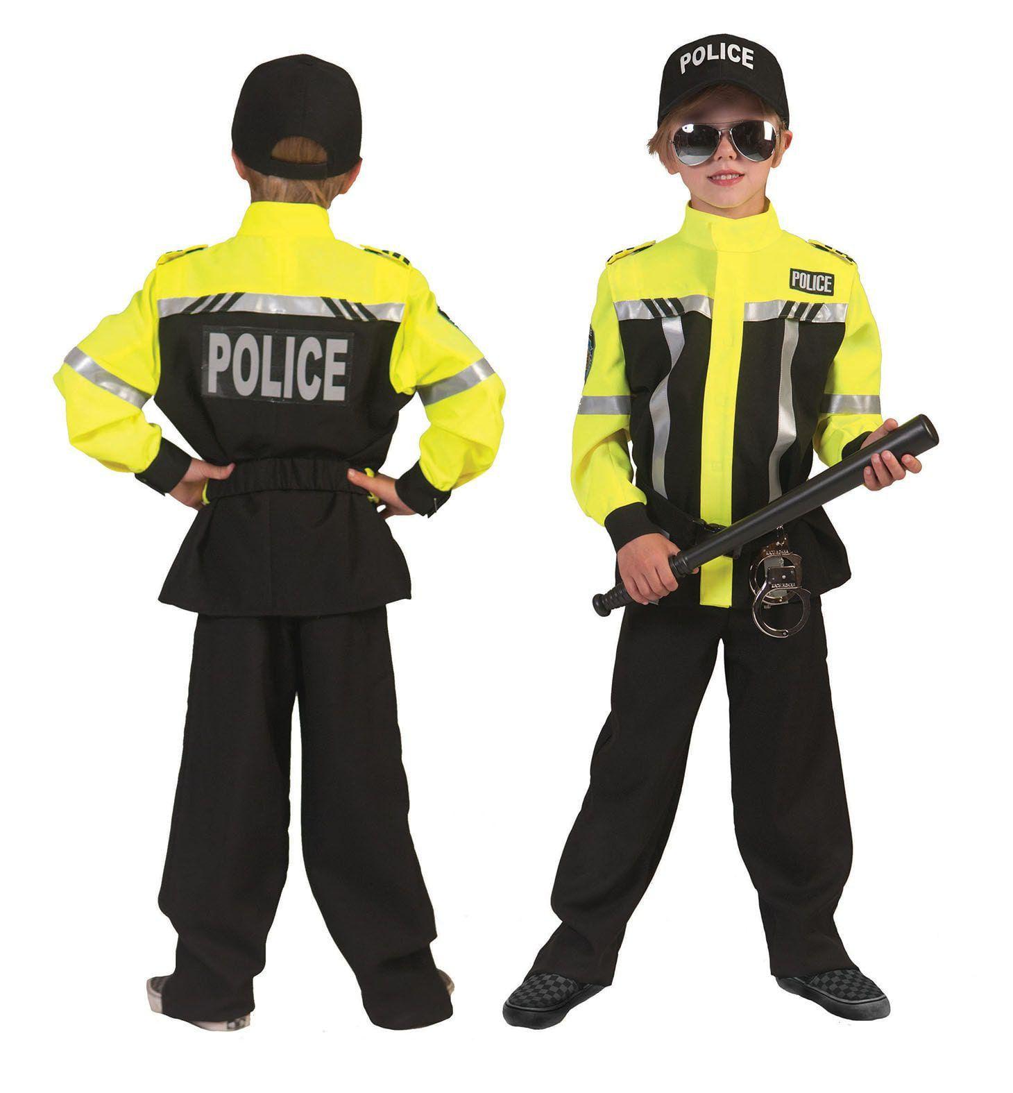 Neon Geel Politie Jongen Kostuum