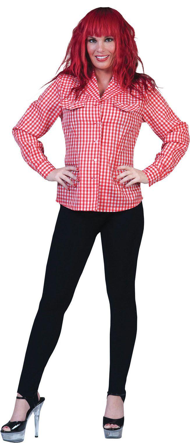 Rood-Wit Tiroler Hemd Vrouw