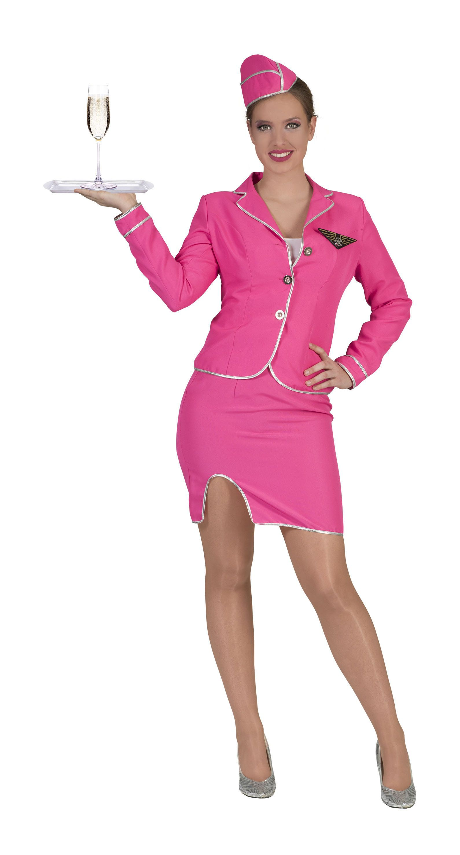 Roze Stewardess Candy Vrouw Kostuum