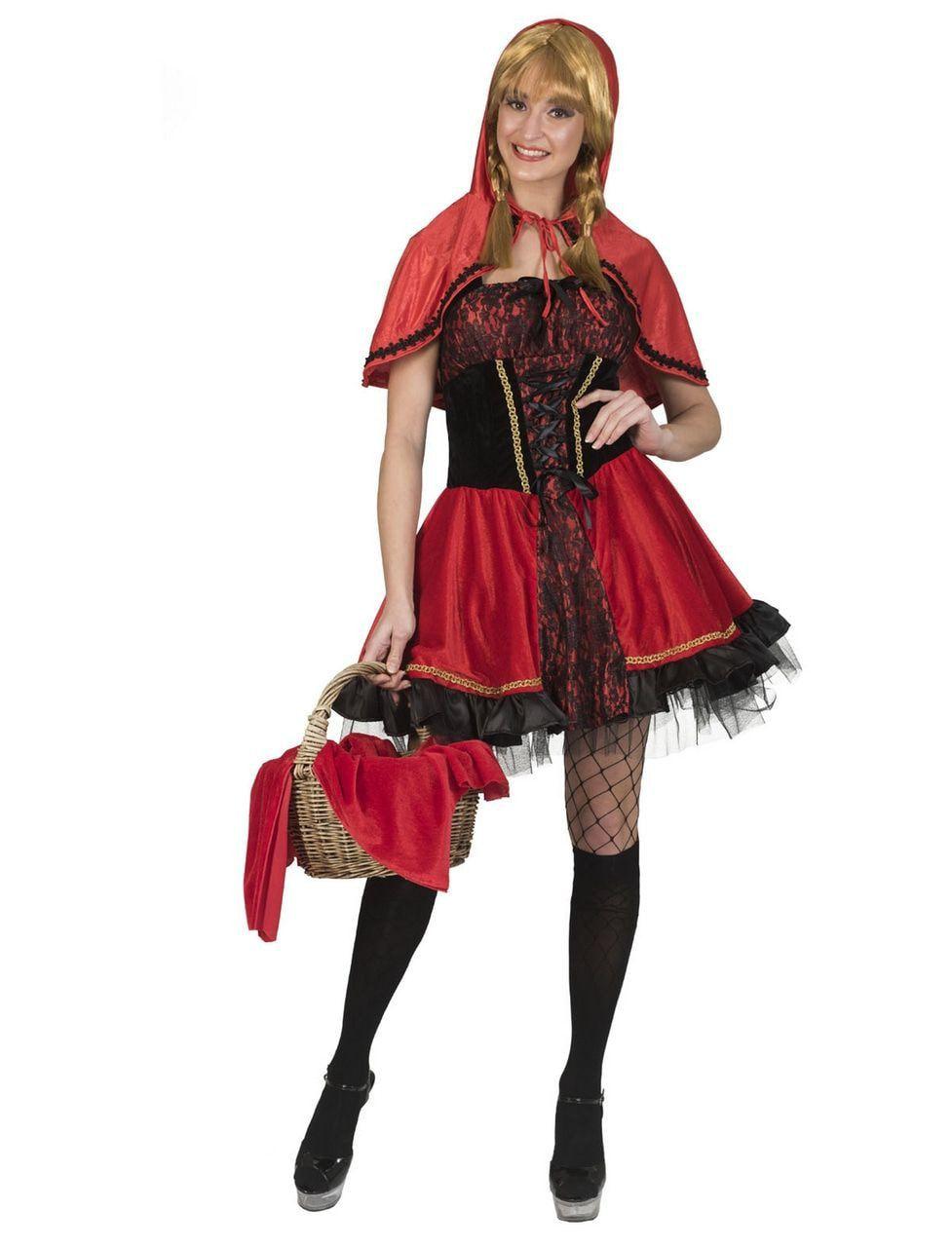 Onschuldig Roodkapje Op Weg Naar Grootmoeder Vrouw Kostuum
