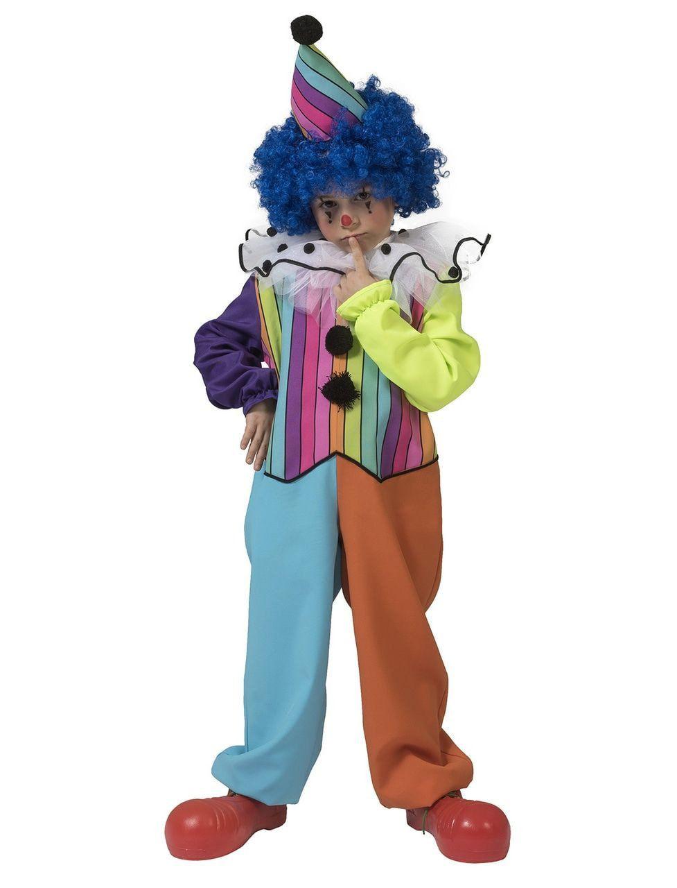 Rainbow Clown Boy Kind Kostuum