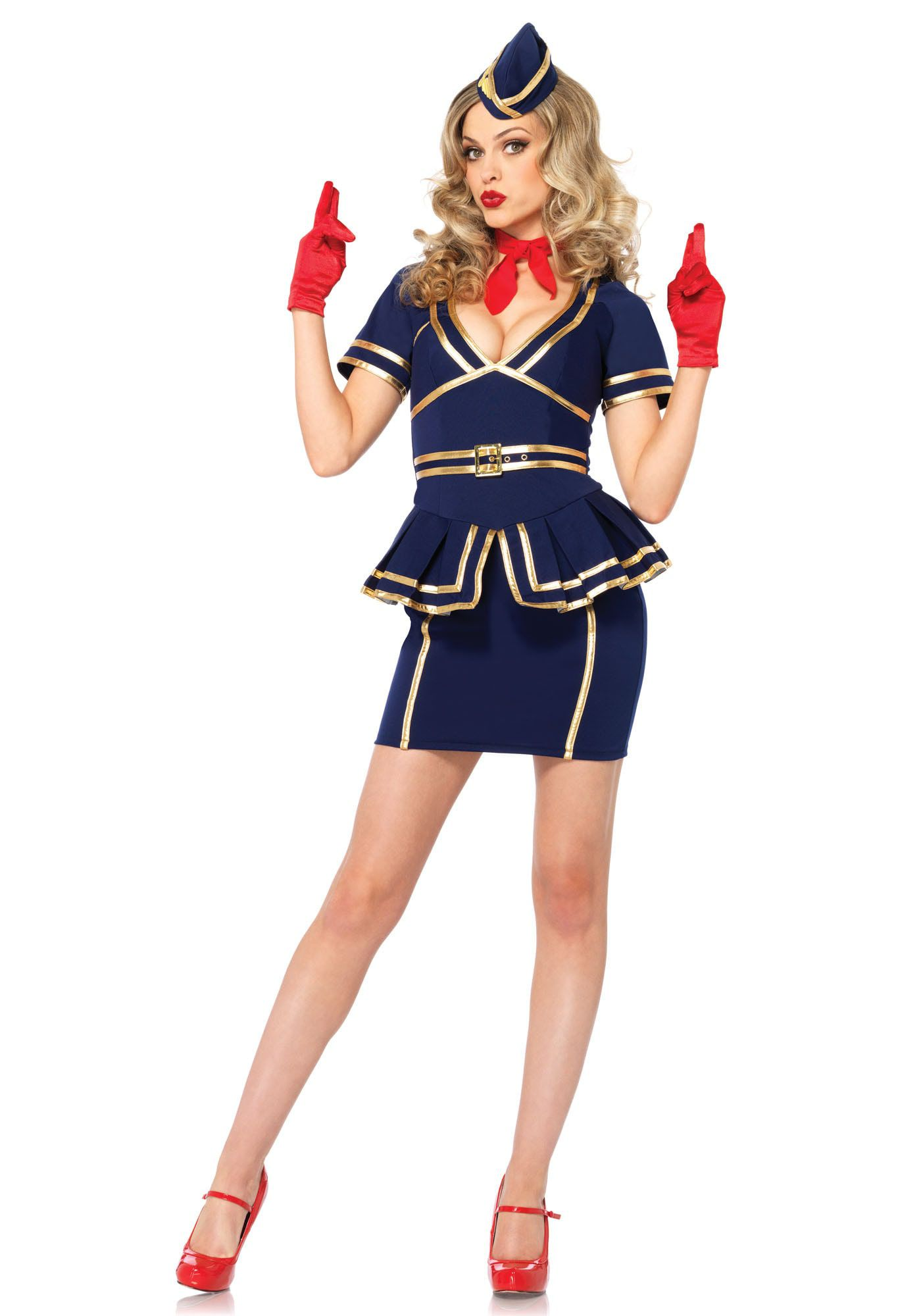 Vintage Sexy Stewardess Vrouw Kostuum