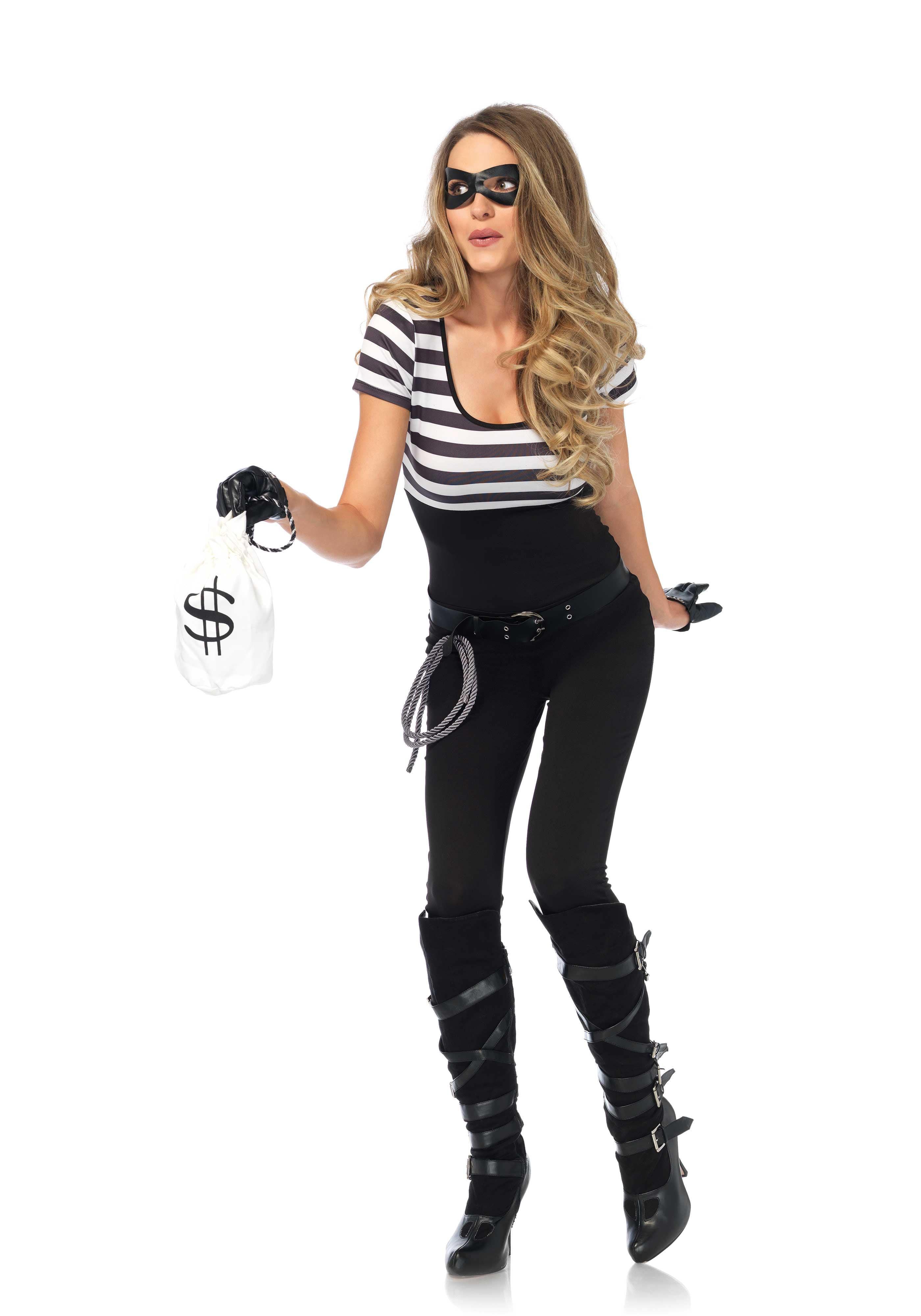 Brutale Bank Overvaller Vrouw Kostuum