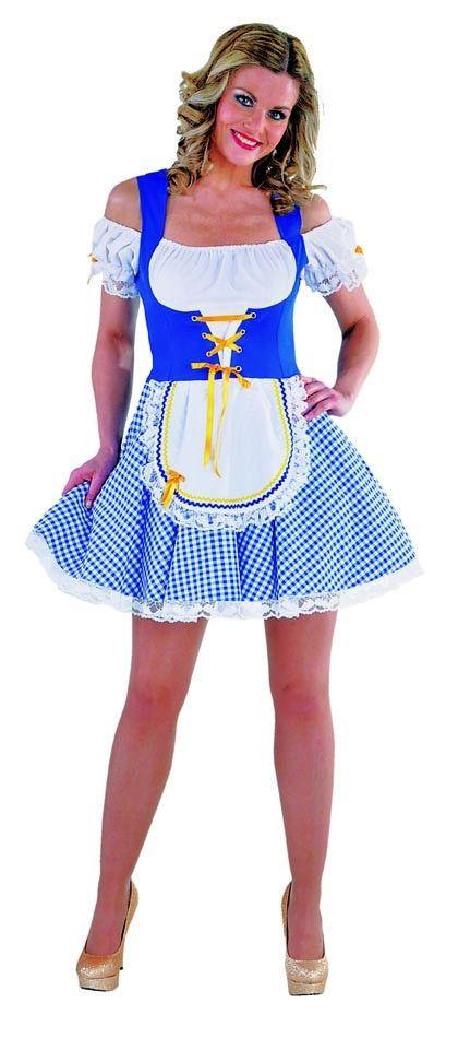 Blauwe Korte Sexy Dirndl Bayern Bierkeller Schatz Vrouw Kostuum