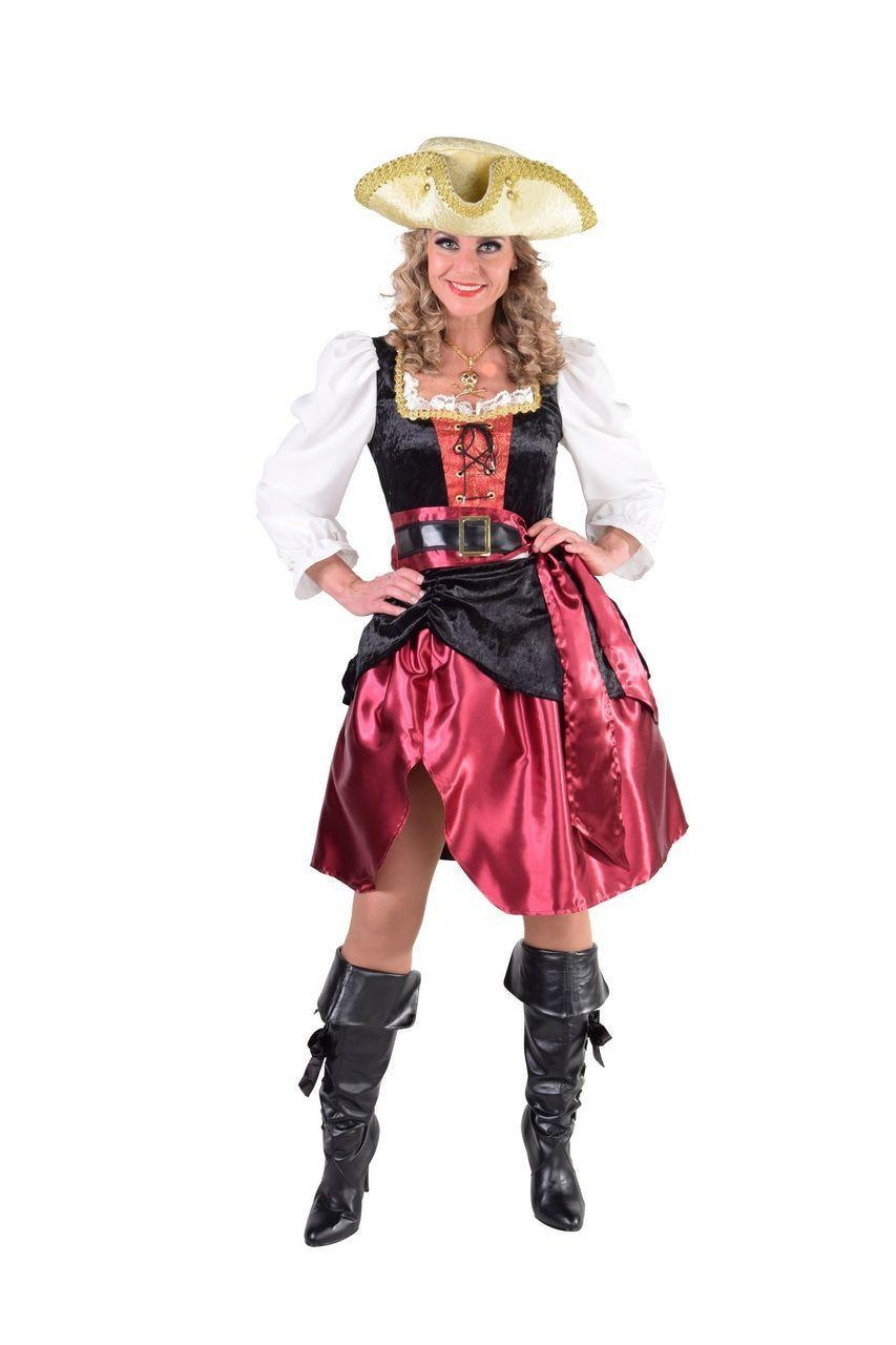 Rode Verleidelijke Hoog Water Pirate Vrouw Kostuum