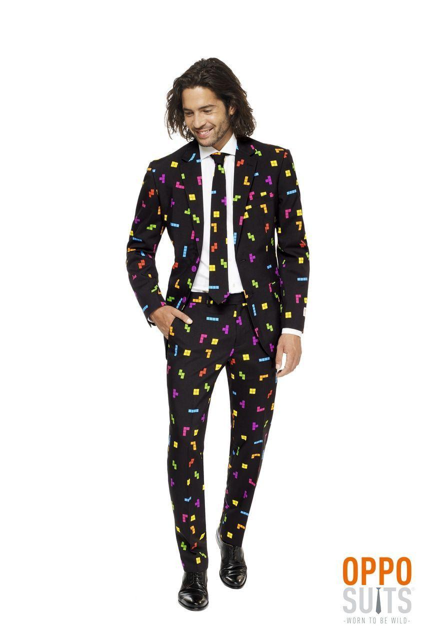 Kleurig Tetris Blokken Computerspel Man Kostuum