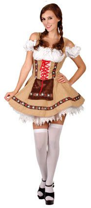 Tirolermeisje Licht Bruin Vrouw Kostuum