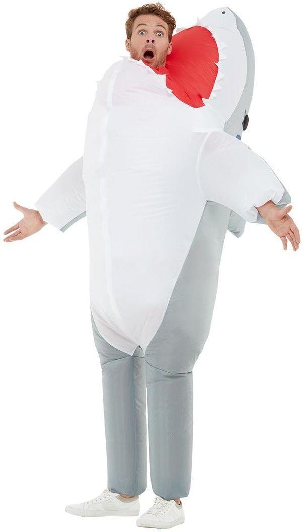 Opblaasbaar Opgeslokt Door Een Witte Haai Kostuum