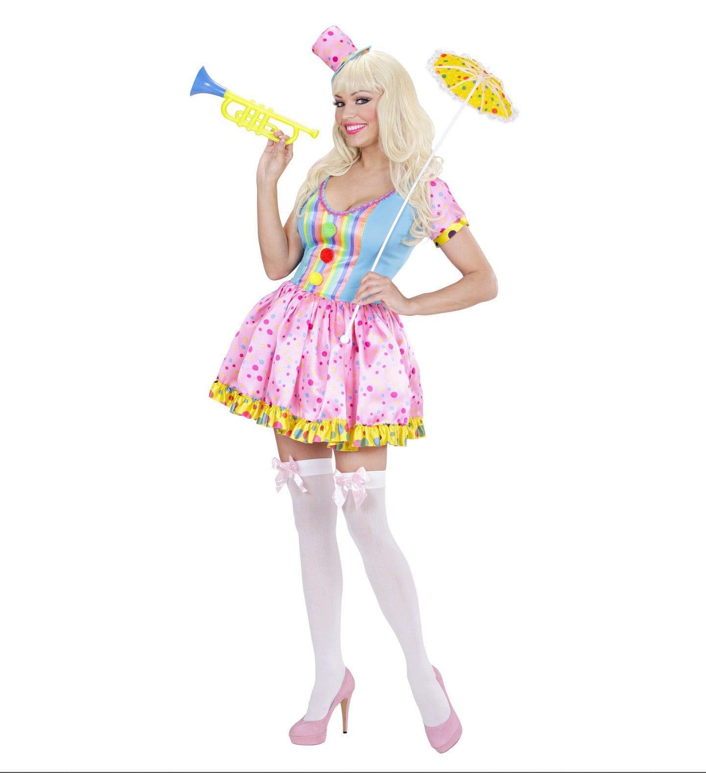 Kleurig Clown Meisje Vrouw Kostuum