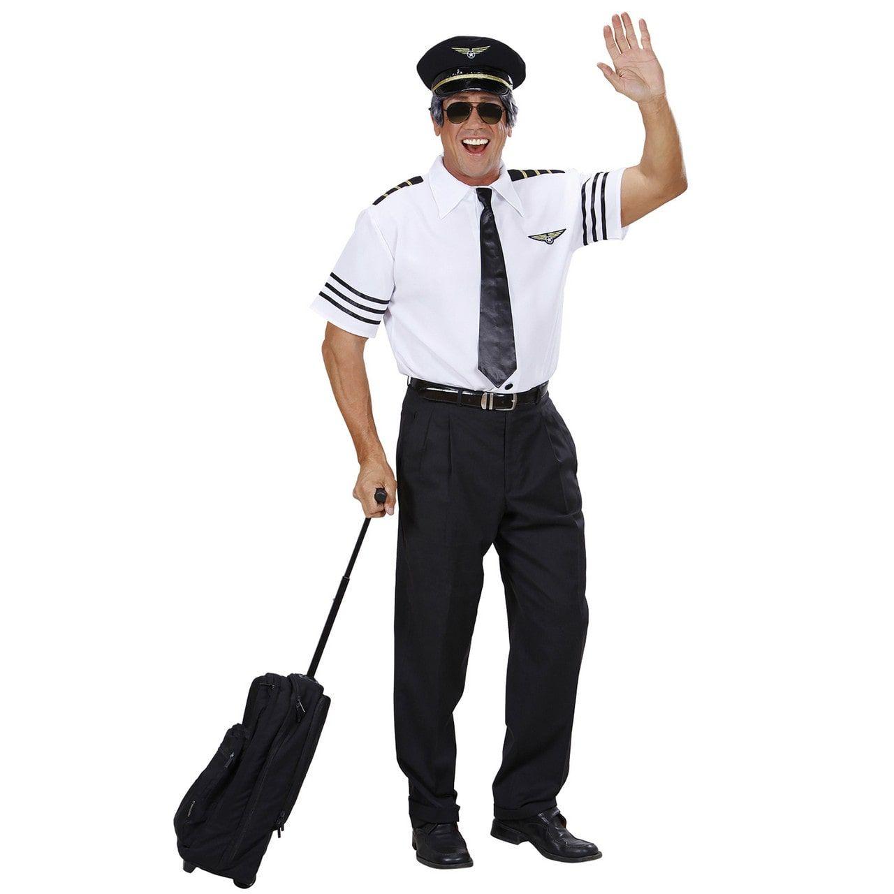Pilotenshirt Met Stropdas En Hoed Man