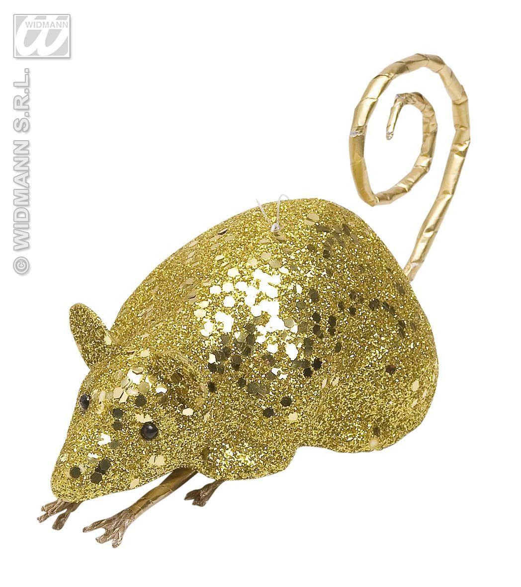 Glitter Muis Goud 12 Centimeter