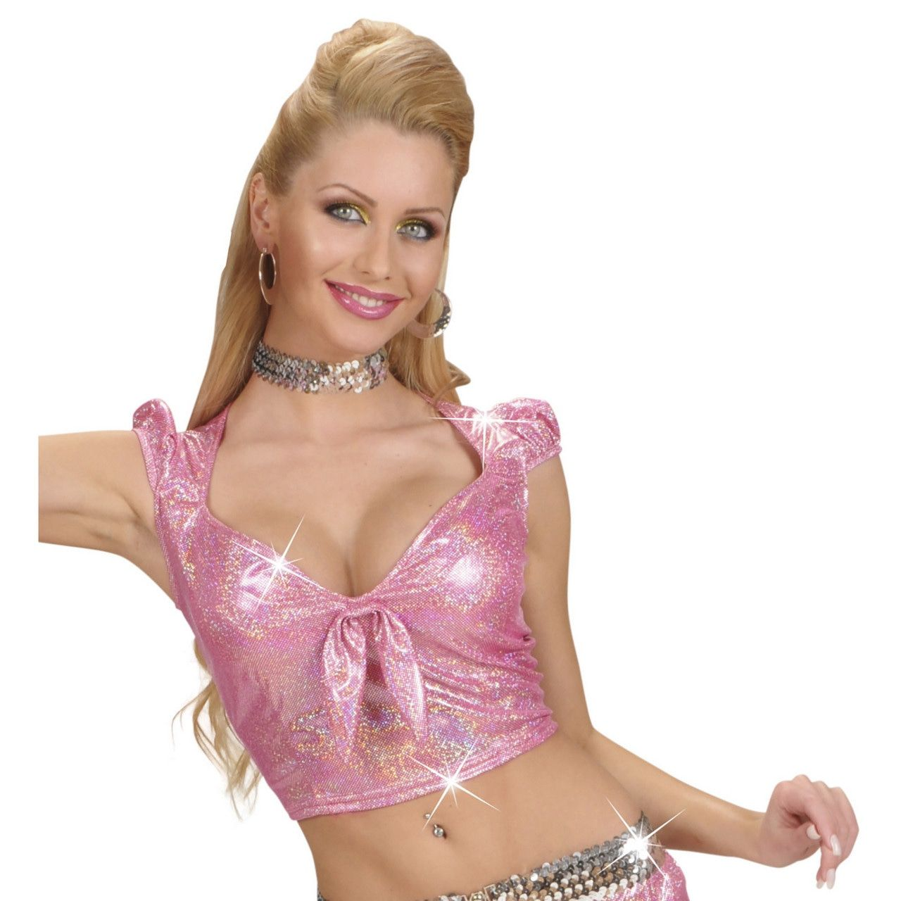 Top Holografisch Met Strik, Roze Vrouw
