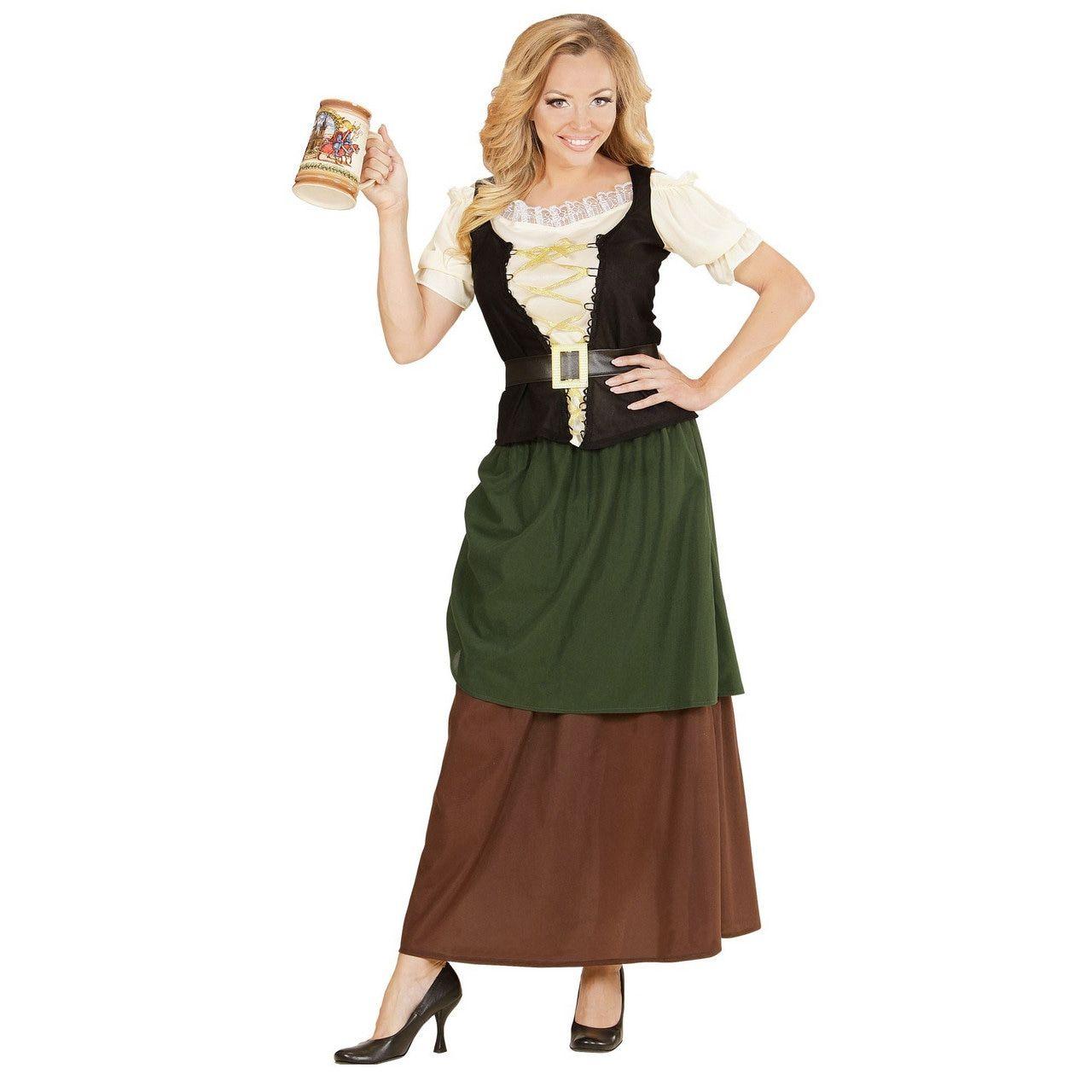 Duitse Middeleeuwse Meid Vrouw Kostuum
