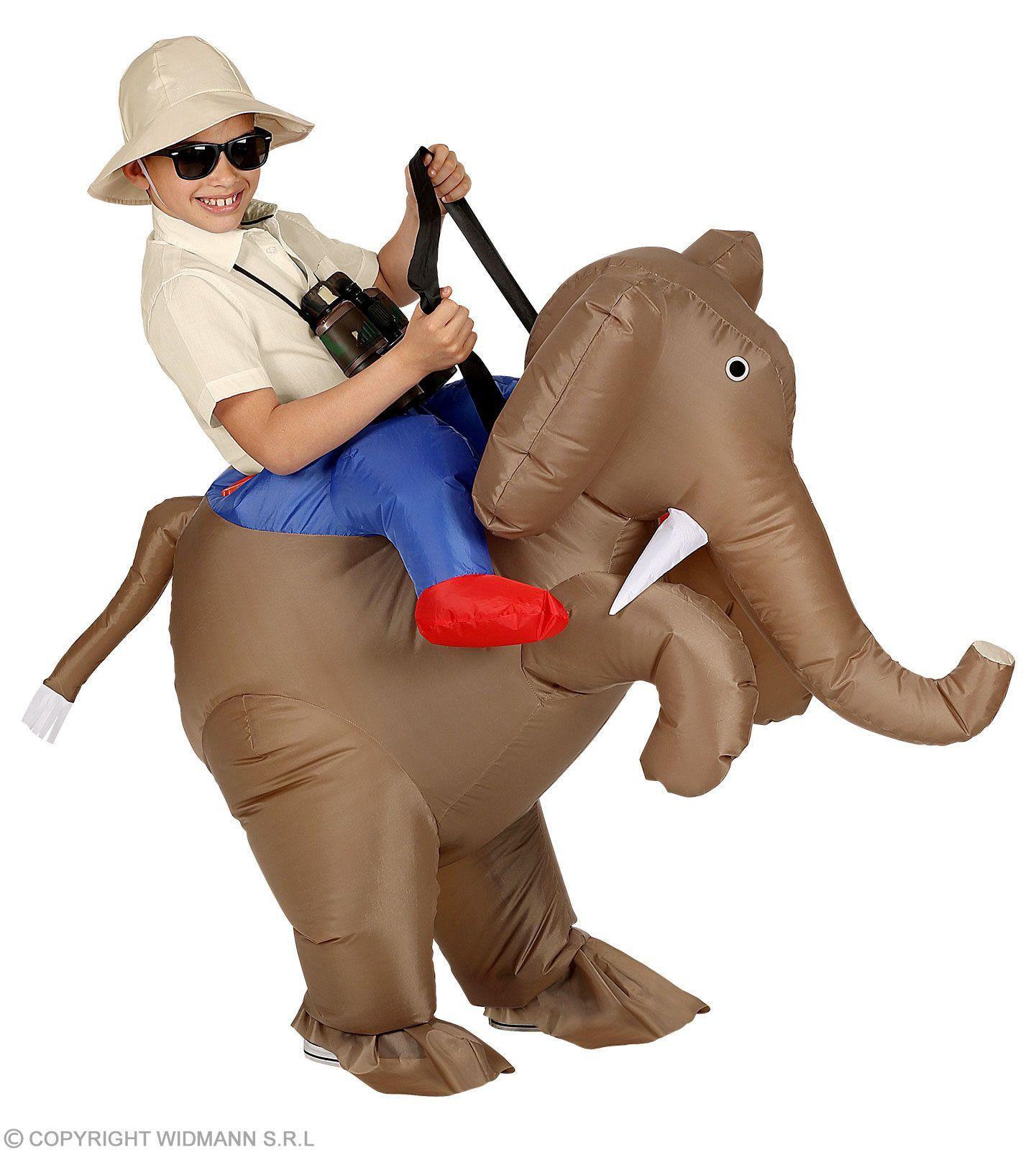 Opblaasbaar Ontdekkingsreiziger Op Een Olifant Kind Kostuum