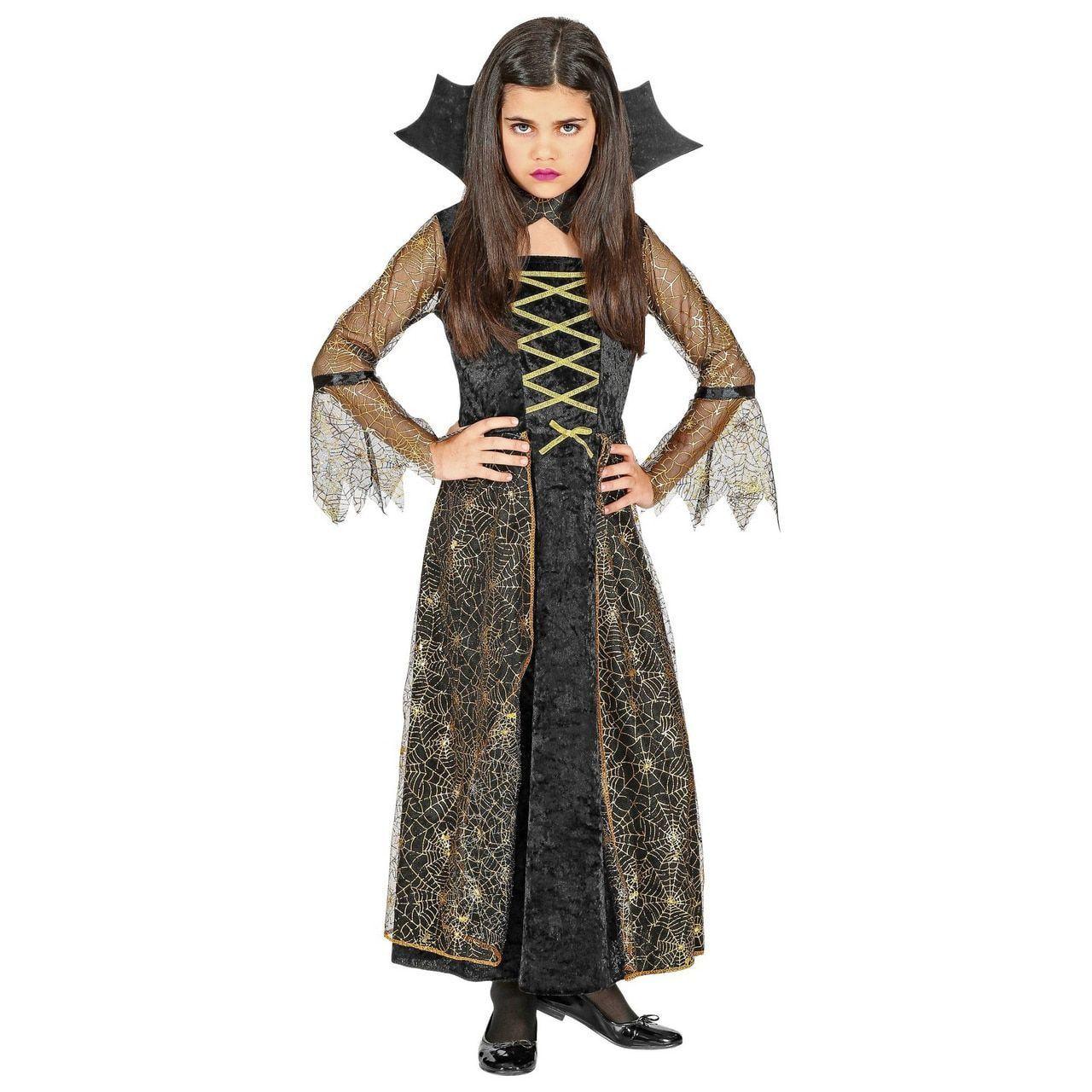 Spiderella Spinnenweb Heks Meisje Kostuum