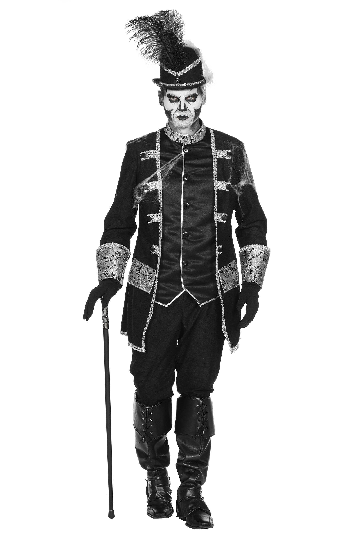 Deftige Rijke Voodoo Piraat Zwart / Zilver Man Kostuum
