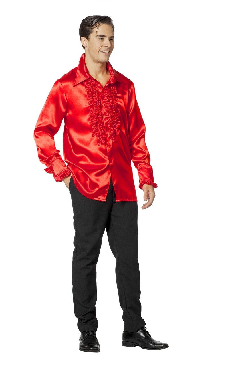 Dolle Disco Ruches Blouse Rood Man