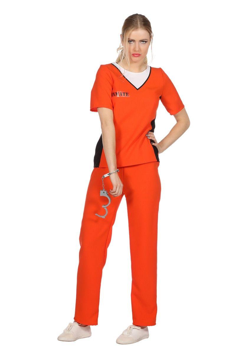 Oranje Jailbird Guantanamo Vrouw Kostuum