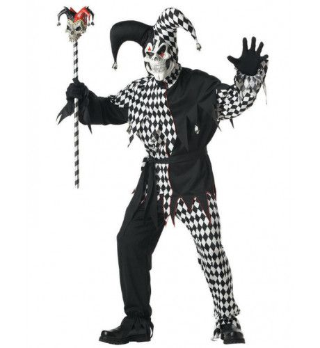 Zwart-Wit Evil Jester Clown Man Kostuum