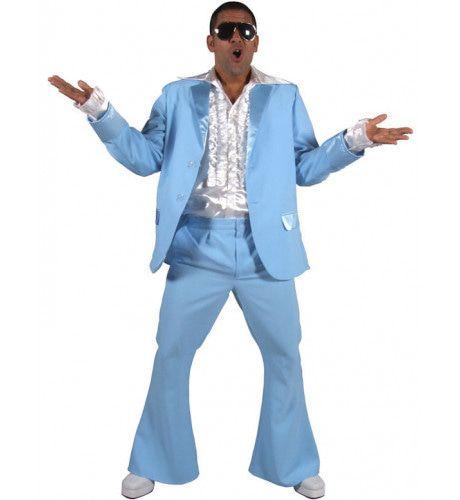 Mannen Jaren 70 Lichtblauw Man Kostuum