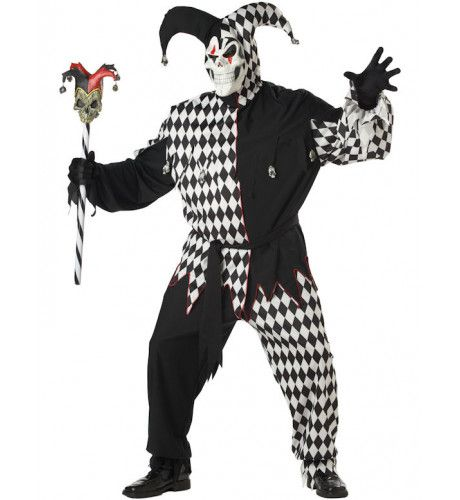 Kwaadaardige Nar Zwart-Wit Maatje Meer Man Kostuum