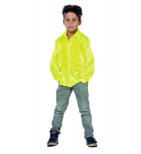 Neon Ruchesblouse Satijn Disco Fly-Boy
