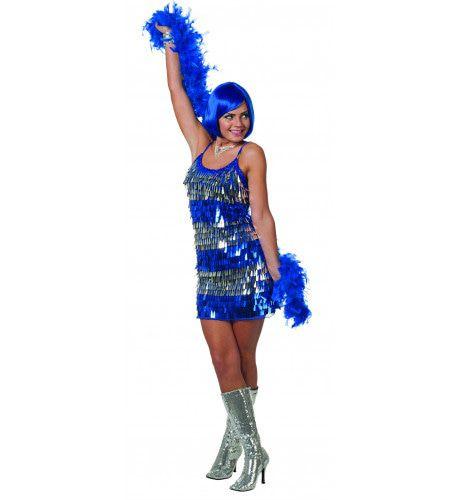 Showgirl Jurk Hangende Pailletten Blauw Vrouw