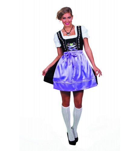 Stube-Dame Dirndl Zwart Met Paarse Schort Vrouw Kostuum