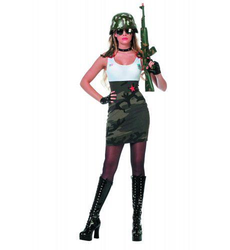 Dodelijke Army Babe Wit / Camouflage Vrouw Kostuum