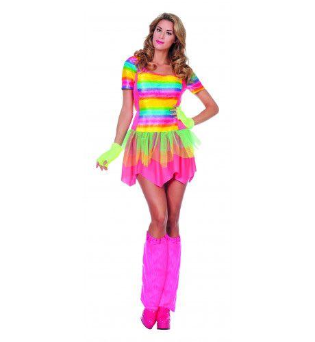 Futuristische Rainbow Girl Vrouw Kostuum