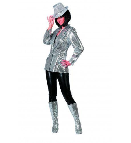 Showmaster Paillettenkolbert Luxe Zilver Vrouw Kostuum
