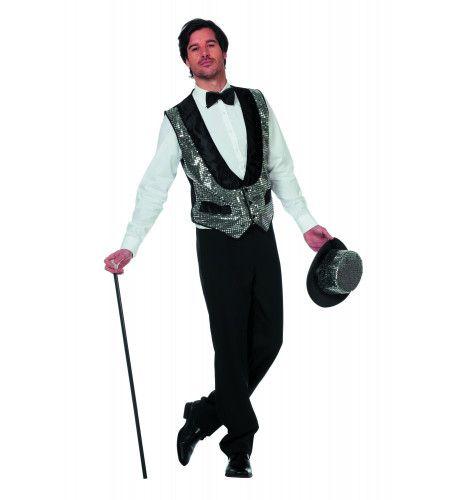 Circus Omroeper Vest Pailletten Zilver Man