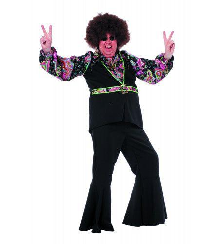 Dansende Rebel Hippie Hemd Zwart / Pink ( Zonder Broek) Man Kostuum