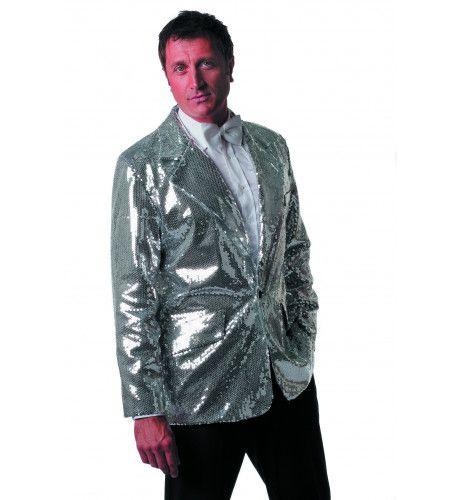 Zilveren Showmaster Paillettenkolbert Luxe Man Kostuum