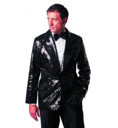 Zwart Showmaster Paillettenkolbert Luxe Man Kostuum