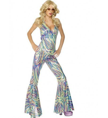 Disco Dancing Queen Jaren 70 Catsuit Kostuum Vrouw