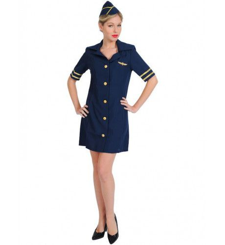 Sexy Blauwe Stewardess Vrouw Kostuum